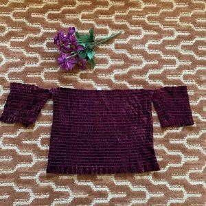 Velvet strapless tube shirt